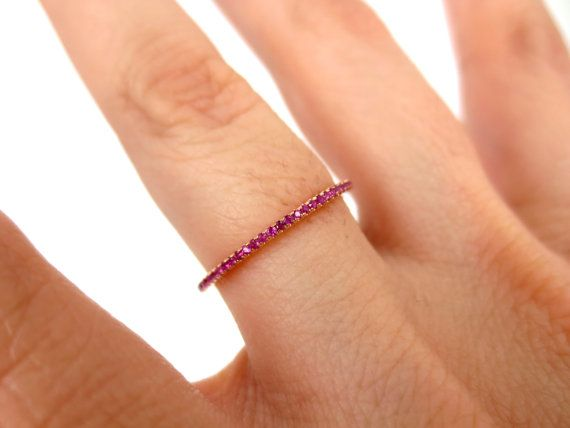 Micro Pave Ruby 18k Rose Gold Eternity Band by ZinaFineJewelry