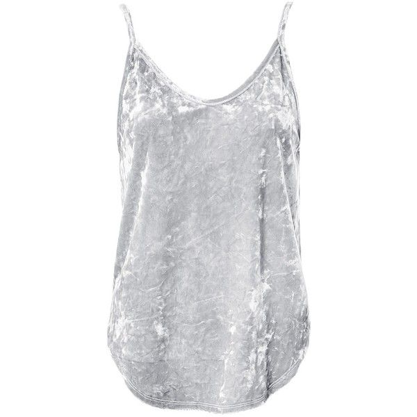 Sans Souci Silver velvet camisole top ($16) ❤ liked on Polyvore featuring tops, shirts, silver, velvet camisole, round hem shirt, camisole tops, silver shirt and silver camisole