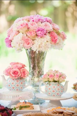 Garden bridal party ~ beautiful table for a tea time lunchon by Kristen Cone Interiors.