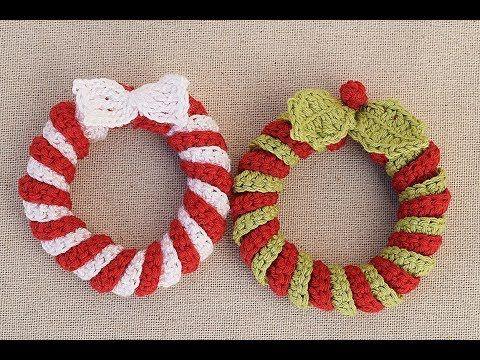 Coronas navideñas a crochet. Muy facil y rapido - YouTube