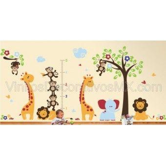 http://www.vinilosdecorativosmx.com/set-de-vinilos-decorativos-de-animalitos-arbol-con-jirafa-elefante-leon-mariposas-catarinas-y-nubes Decora y has divertido el cuarto de tu peque la sala de estimulacion, la guarderia, el preescolar, primaria o cualquier otro espacio con este completo Set de Vinil Decorativo Infantil Deluxe 13 , que contiene:    Arbol con changuito colgado de una rama de 160 de altura  Medidor con changuitos