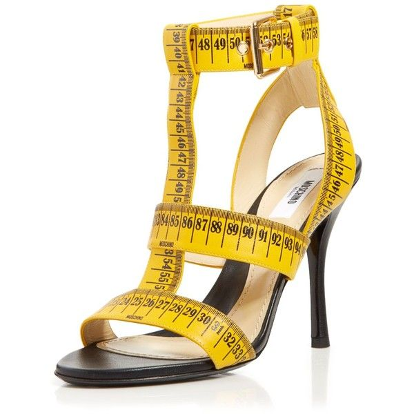 Moschino T ($895) ❤ liked on Polyvore featuring shoes, pumps, heels, moschino, schuhe, yellow, t bar shoes, t strap high heel sandals, t-bar sandals and moschino sandals