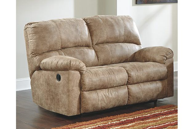 Fabulous Stringer Reclining Loveseat By Ashley Homestore Tan Caraccident5 Cool Chair Designs And Ideas Caraccident5Info