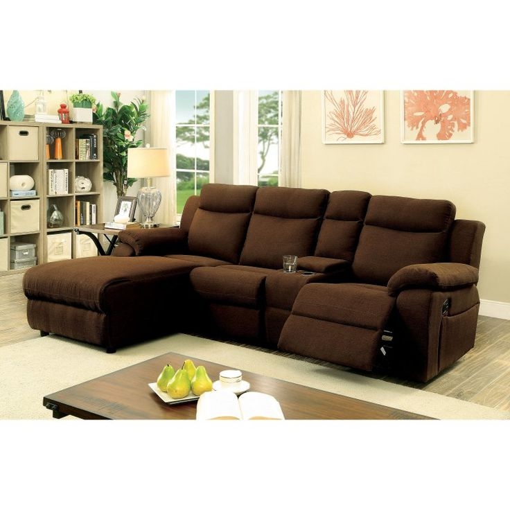 Furniture of America Deydon Transitional Style Chaise Sectional Recliner Sofa - IDF-6771GY-SEC
