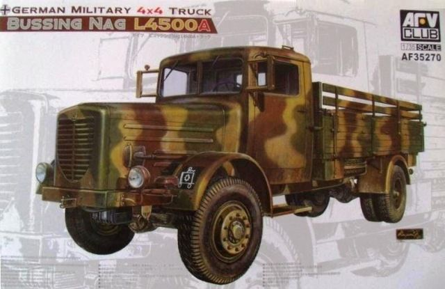 Bussing NAG L4500A, German Military 4x4 Truck. AFV Club, 1/35, rebox 2014 (ex AFV Club 2012 No.AF35170, updated/new parts), No.AF35270. Price: 47,95 EUR (marketplace).