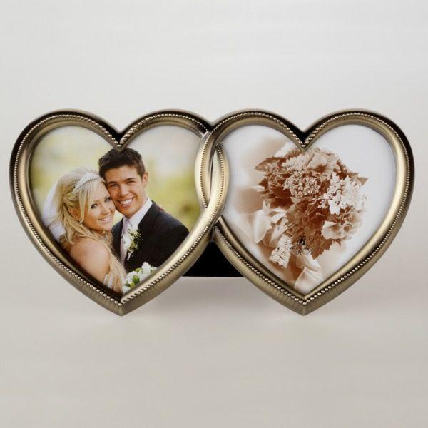 Złota ramka serca na 2 zdjęcia 10×10 cm | 32,00 PLN