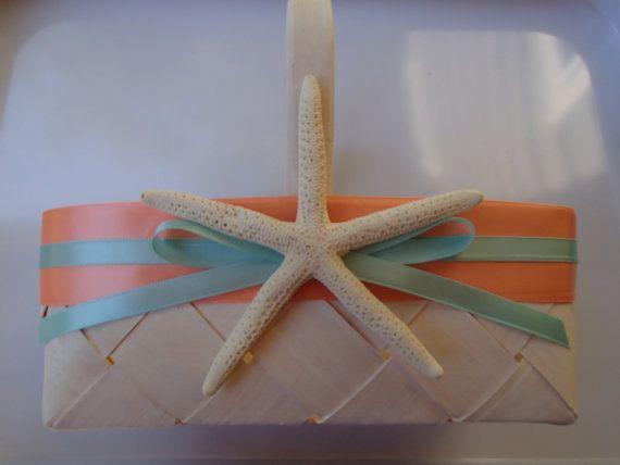 Starfsh Beach Flower Girl Basket - Beach Wedding  - Starfish - Hawaii - Blue - Beach - Rustic - Tropical - Seafoam - Coral  $24.00