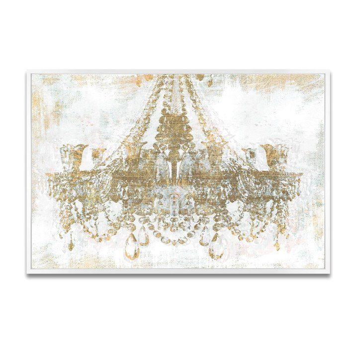 Gold Diamonds Faded Chandelier Framed Graphic Art Print On Canvas Wall Art Canvas Prints Glam Wall Art Fashion Wall Decor