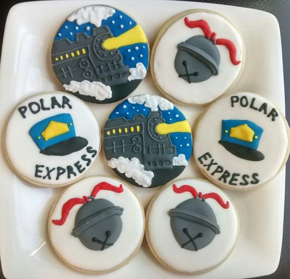 Polar express,condactors hat, christmas bells decorated sugar cookies large with royal icing,new year