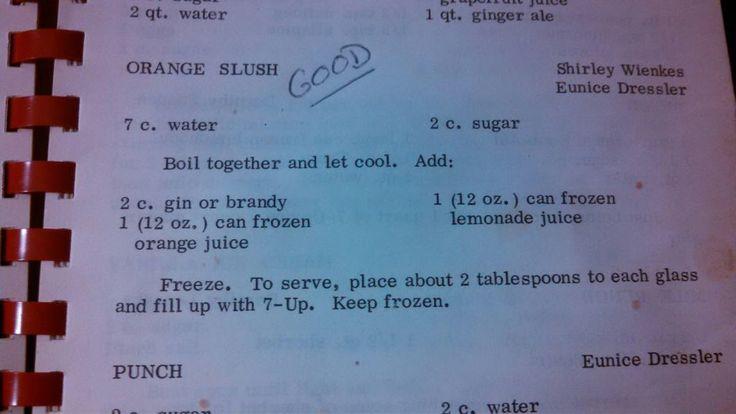 Wisconsin brandy slush. Recipe straight from Grandma's church cookbook. A Christmas staple.