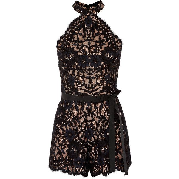 Alexis Margot cotton-blend lace playsuit (375 CAD) ❤ liked on Polyvore featuring jumpsuits, rompers, black, lace romper, playsuit romper and lace rompers
