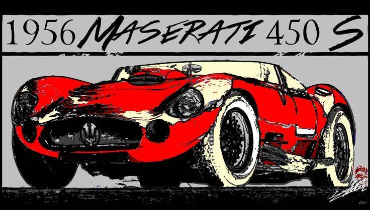 Tableau voiture ancienne sport course Maserati 1956 450 S peinture est un tableau moderne d'une voiture de collection italienne célèbre.