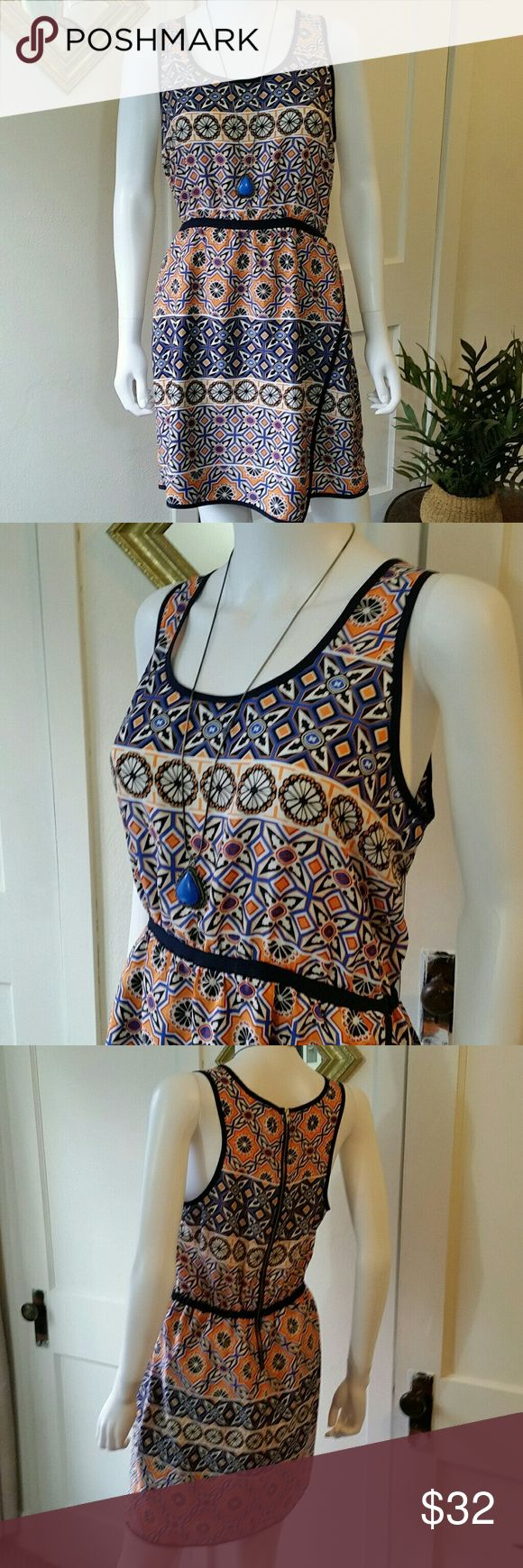 Bar III Tribal Print Shift Dress Excellent condition gorgeous tribal print in blues and oranges with exposed zipper and faux wrap skirt. Pretty and perfect for summer. Bar III Dresses