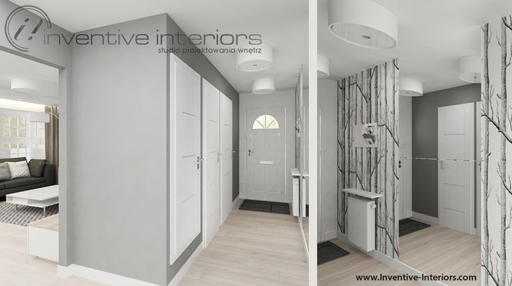 Projekt przedpokoju Inventive Interiors  szarość i tapeta   -> Kuchnia Jaka Tapeta