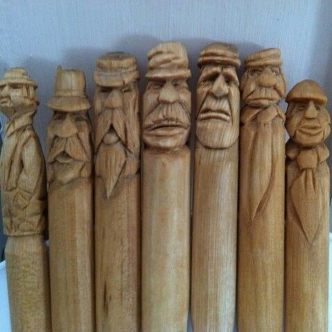 Little Old Men Carved From Pegs Woodcarving