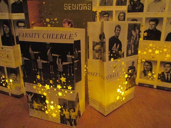 5 Yearbook Luminaries Reunion Decor Custom Made by Oldendesigns