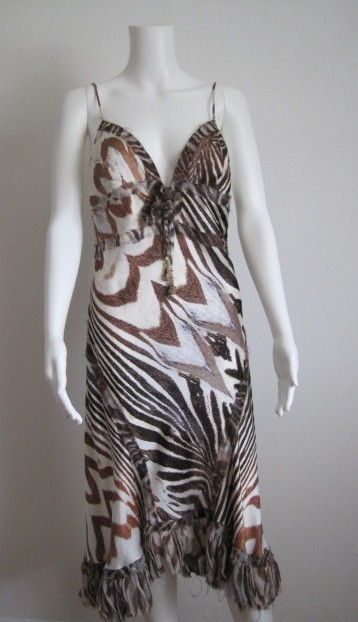 ROBERTO CAVALLI Silk Animal Print Dress, sz Large #RobertoCavalli