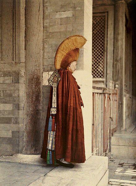 Buddhist lama in Beijing, China, 1913, Stéphane Passet, public domain via Wikimedia Commons.