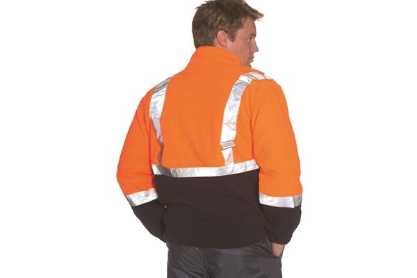 Huski Polar Fleece Jacket Hi Visibility Zip 3M reflective Tape Mens Orange New