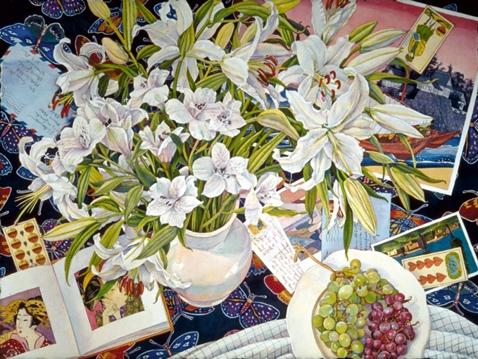 Dream Tables - 'White Flowers and Butterflies' Watercolor by Susan Abbott.