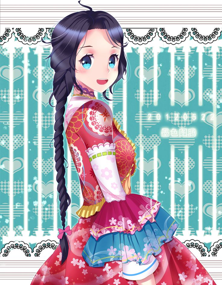 Anime Girl With Braided Hair Japanese Style Art