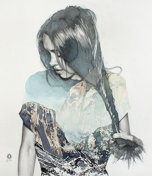 """Twistly | blendscapes"" - Oriol Angrill Jordà, Spain {contemporary artist figurative female head woman face profile portrait watercolor painting detail} <3 Great textures!!"