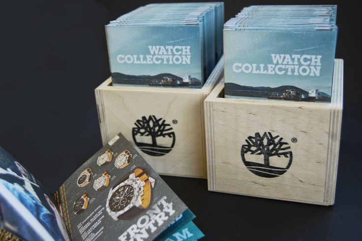 Product range brochures and raw wood container boxes for Timberland Watches