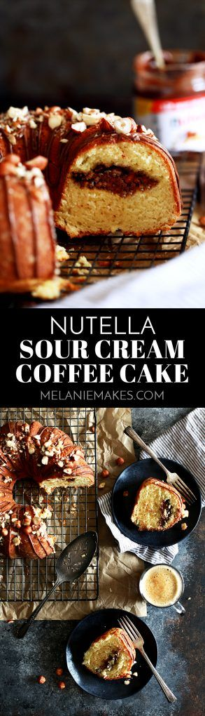 An entire cup of sour cream in this Nutella Sour Cream Coffee Cake insures a tender end result.  Not only does this cake feature a tunnel of Nutella and chopped hazelnuts throughout the inside of the cake, but the finished cake is also garnished with drizzled Nutella and more chopped hazelnuts.  In other words, it's heaven in coffee cake form. #nutella #sourcream #coffeecake #brunch #breakfast