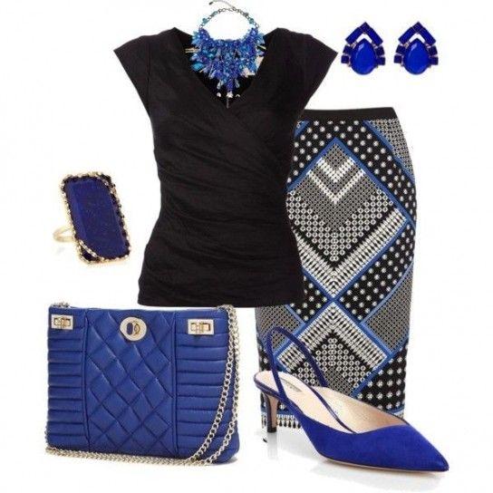 Look royal blu e nero