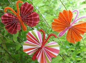 Fun Butterfly Craft with scrapbook paper and pipe cleaners. This is a good one because there is no glue necessary.