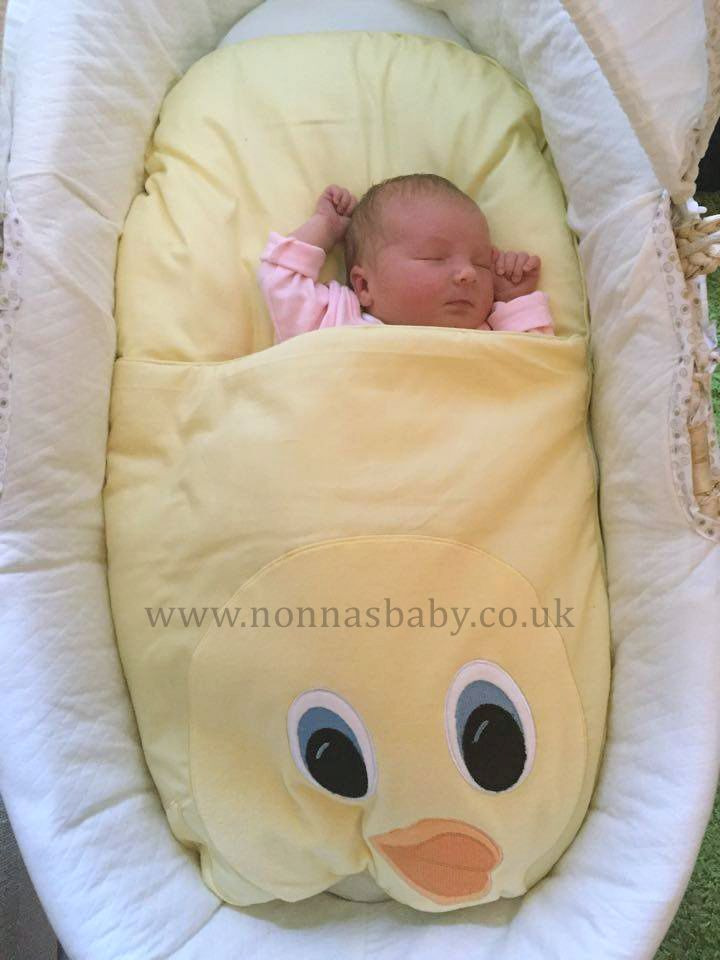 """Little Lily Victoria is as cute as a button in her Dainty Duckling Nap Mat. Mummy Mags commented """"Just got Lily Victoria home after being born on Friday at 6:49 am, got her straight into the Moses basket in her Nonna's Nap Mat and settled straight away. She's absolutely gorgeous and loves it in there! Thank you so much!"""".  Nonna thinks she is gorgeous too! :-) • Find out more about Nap Mats: https://nonnasbaby.co.uk/baby-nap-mats/"""