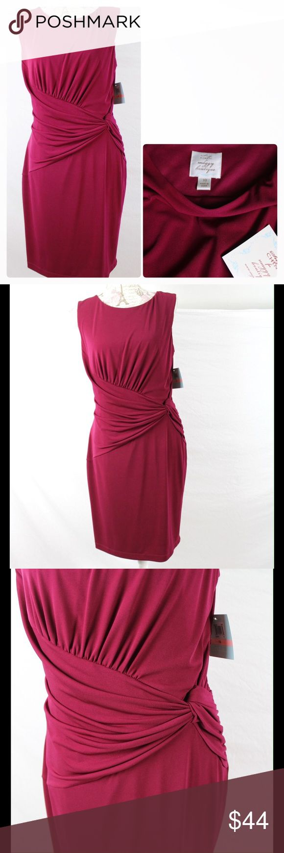 """Suzi Chin Sleeveless Side Ruche  Dress Sangria 10 This is a new Suzi Chin sleeveless side ruched sheath dress in Sangria color, size 10. Side gathering/ruching at leftside of waist, round neck, hidden side zip.  When flat on front side, underarm to underarm measures 20"""" across, waist 15"""", hips 20"""". Total length is 38 inches. In new condition and ready to wear! Suzi Chin for Maggy Boutique Dresses"""