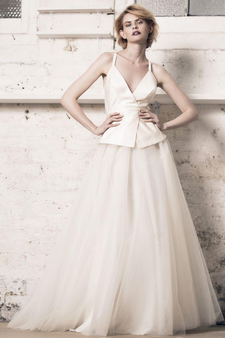 Modern wedding dress for the contemporary bride. Lily top, Felicity skirt. Silk duchess wrap top with peplum. Tulle ball skirt.