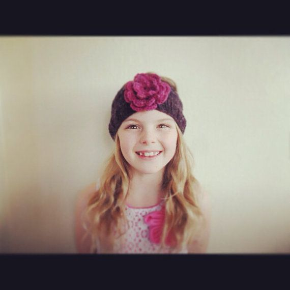 knitted flower headband by RusticValley on Etsy