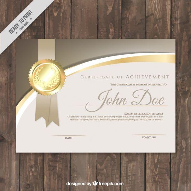 Certificado de lujo con detalles dorados Vector Gratis
