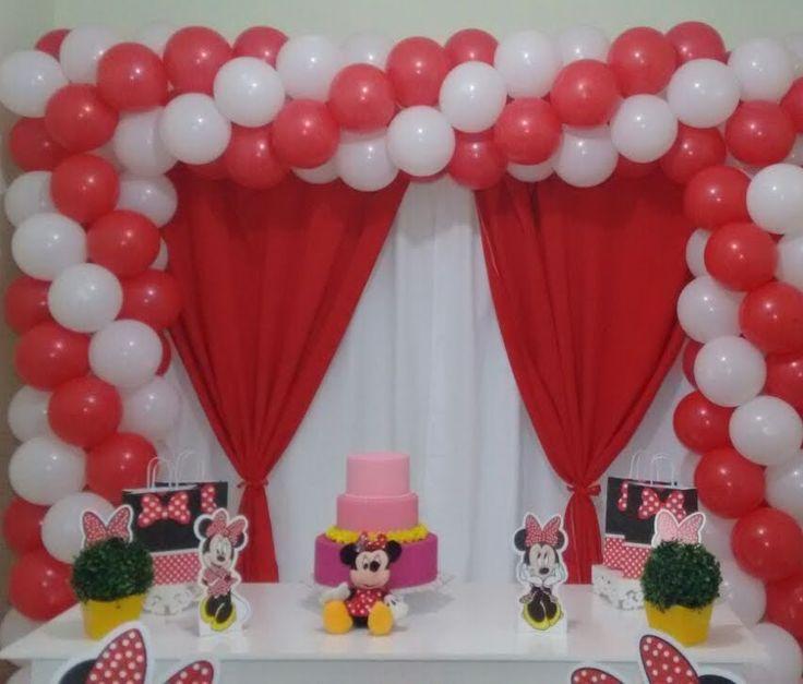 ARCO QUADRADO DE BALÕES  COM 2 CORES TEMA MINNIE   -   square balloon ar...