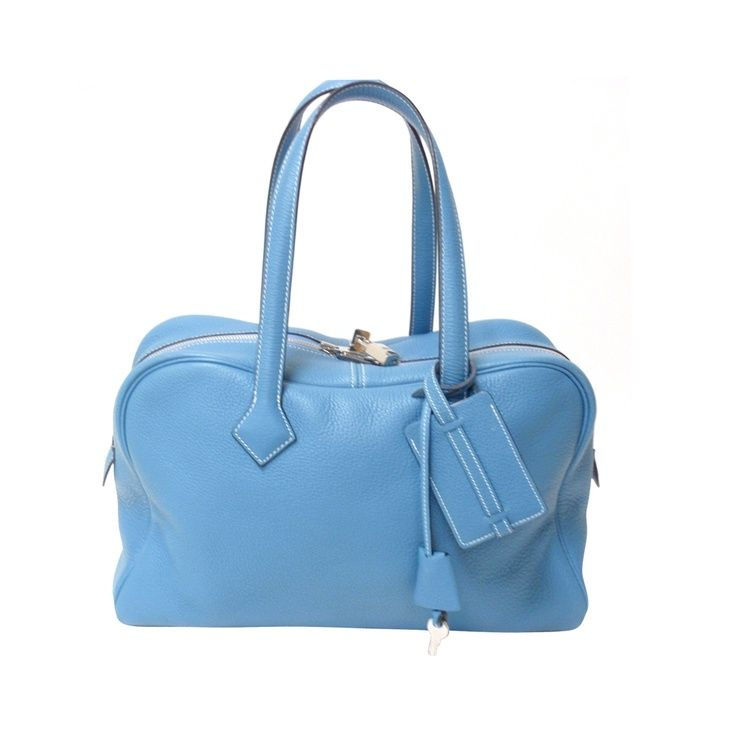 HERMES Victoria II Blue Clemence Leather Travel Tote Handbag ...