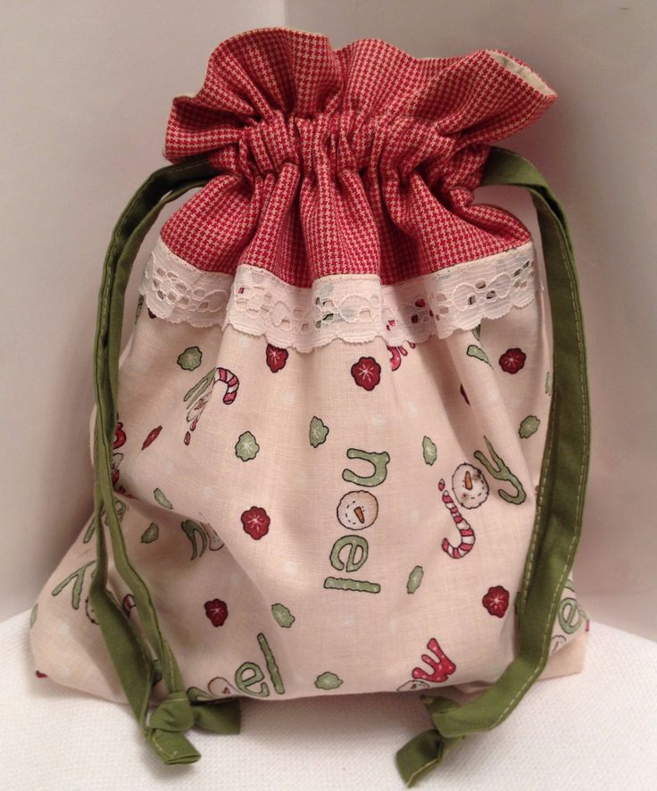 Fabric Gift Bag Keepsake Drawstring Christmas Pouch