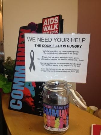 "It's #FundraiseFriday! Here's a fun idea: Set up a themed donation container. This one brings new meaning to ""cookie jar"" #AIDSWalkNY"