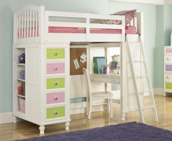 un design doux de lit mezzanine avec bureau pour une chambre de fille