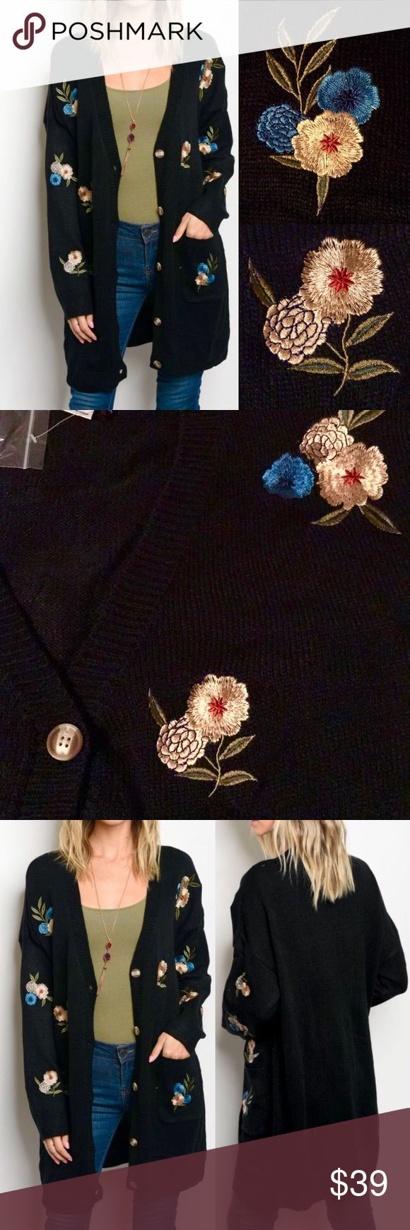 "☀️NEW☀️Classy Embroidered Cardigan black Front pockets. Button down. Soft. Measurements on size small are 21"" across bust, 30 1/2"" length. As with all merchandise, seller not responsible for fit nor comfort. Brand new boutique retail w/o tag. No trades, no off App transactions.  ❗️PRICE IS FIRM UNLESS BUNDLED❗️ Sweaters Cardigans"