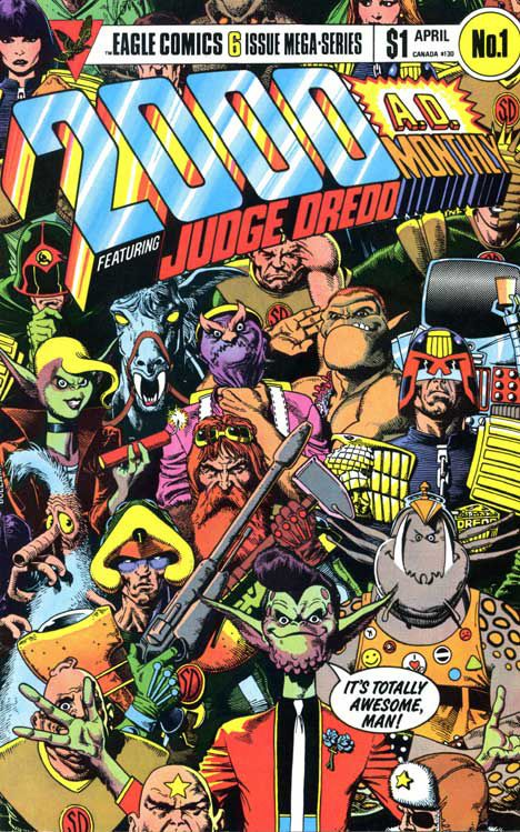 Brian Bolland's 1985 cover for '2000 AD Monthly' #1  Read More: Bolland Revisits Own Work With 'Judge Dredd Megazine' #350 | http://comicsalliance.com/judge-dredd-megazine-350-cover-brian-bolland-homage-art/?trackback=fbshare_top&trackback=tsmclip