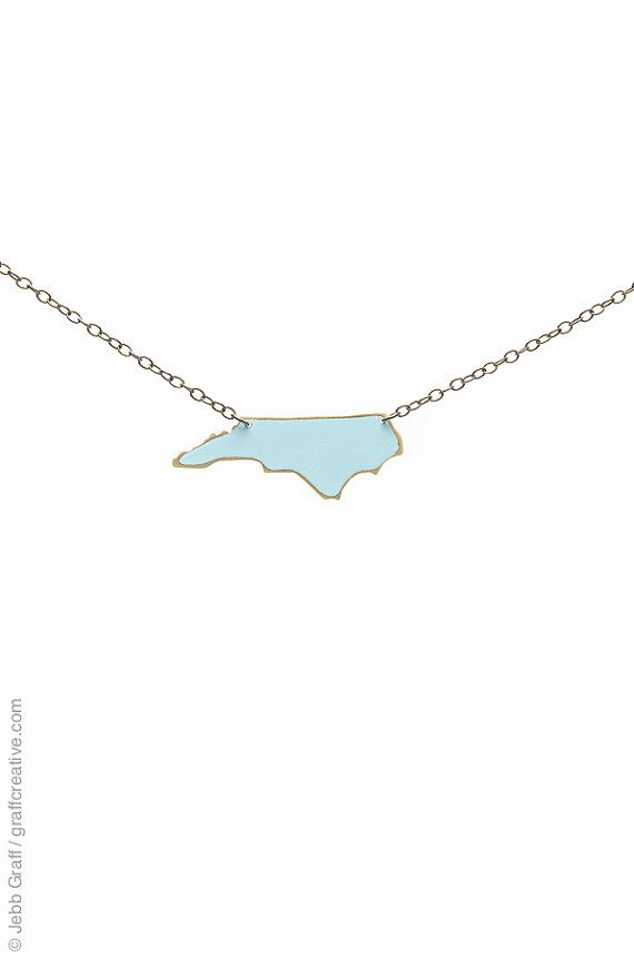 North Carolina Necklace, Carolina Blue, Large - UNC, North Carolina Tarheels, NC necklace // handmade in NC on Etsy, $29.50