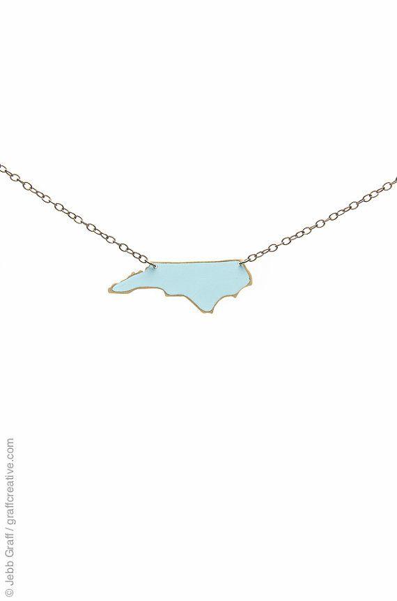 North Carolina Necklace, Carolina Blue, Large - UNC, North Carolina Tarheels, NC necklace // handmade in NC on Etsy, $29.50