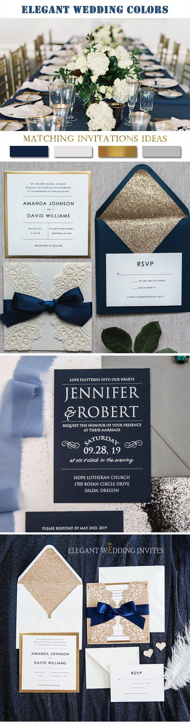 tie ribbon wedding invitation%0A Top    Hotsale Navy Blue Wedding Invitations at EWI
