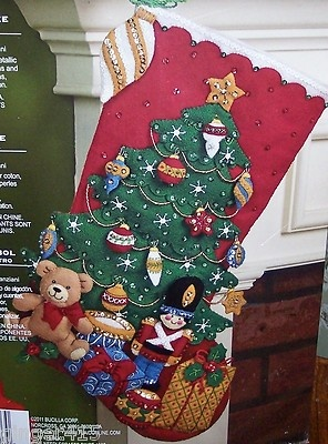 "Bucilla New Gifts ""Under The Tree"" Felt Christmas Stocking Kit Soldier Toys 18"" 