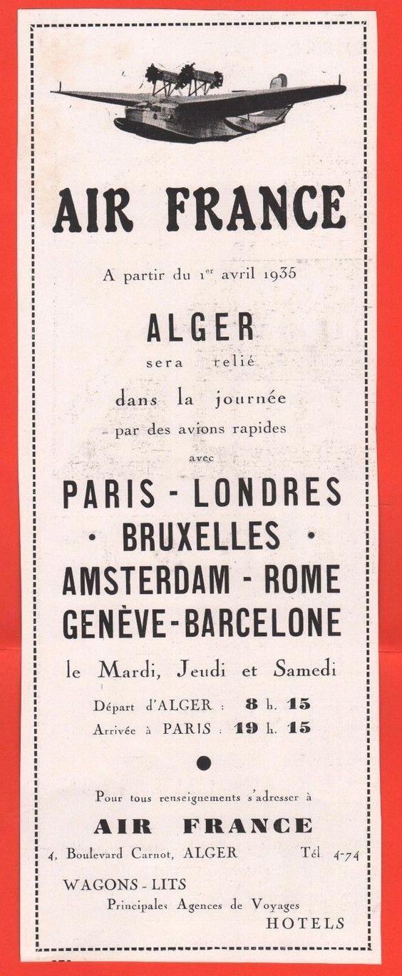 1935 - Alger en hydravion - Air France.