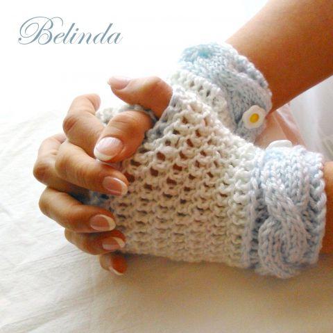 Őszi égbolt - kötött-horgolt ujjatlan kesztyű, Crochet-knit mittens Ruha, divat, cipő, Kendő, sál, sapka, kesztyű, Kesztyű, Meska 1450 Ft