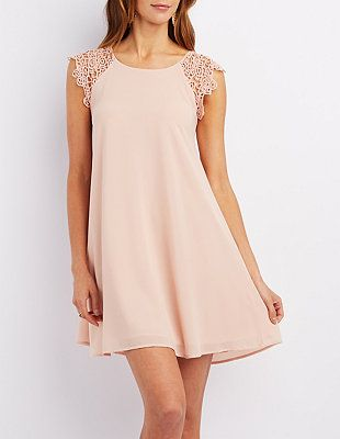 Jella C Crochet-Trim Shift Dress: Charlotte Russe