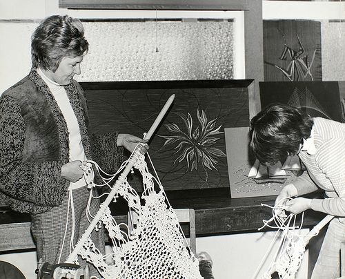 Fashion students with crocheted curtains 1970s - craft, crochet. Geelong, Australia.